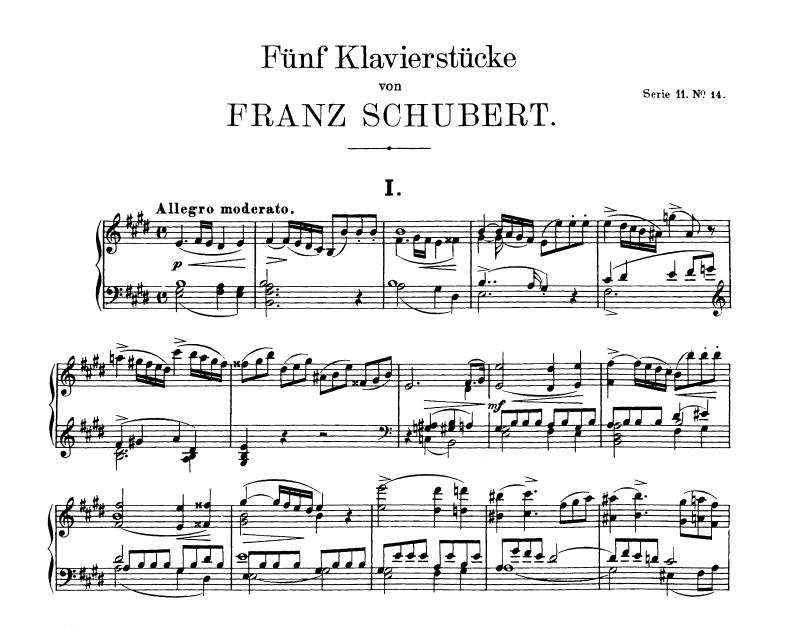 Franz Schubert Allegro - Sonata in E, D. 459 nauka gry na fortepianie